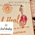 Natural Red Quartz and 925 Sterling Silver Earrings.