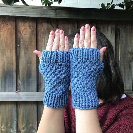 Blue Fingerless Mittens/Gloves