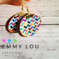 Double Layer Gold and Geometric Pattern Round Faux Leather Earrings