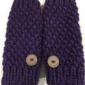 Stunning purple fingerless gloves handwarmers mens or ladies vegan gloves