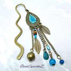 Bronze & Blue Boho Bookmark