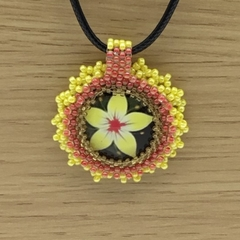 Frangipani Flower Glass Bead Pendant Necklace