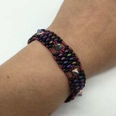 Black Purple Bead Bracelet Swarovski Button