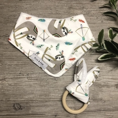 Baby Gift Set - Dribble Bib & Teether - Sloth - Girl Boy Unisex