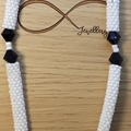 White Blue Black Triangle Pattern Bead Pendant Bead Necklace Shape Geometric