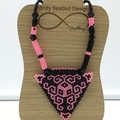 Pink Black Triangle Pattern Bead Pendant Bead Necklace Shape Geometric