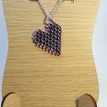 Multi colour heart Pendant Necklace Chain Purple Black