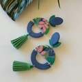 FRESH FOLIAGE -  BLUE BASED STATEMENT EARRING WITH TASSEL