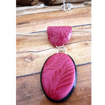 Pink Polymer Clay Leaf Design Pendant on a Cream Ribbon Choker
