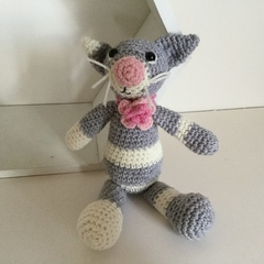 Grey and White Cat -  crocheted, knitted, softies