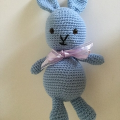 Blue Bunny -  crocheted, knitted, softies