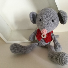 Reggie Mouse -  crocheted, knitted, softies