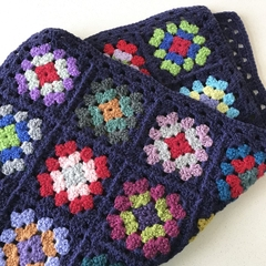 Small Crocheted Granny Square baby blanket  - Pure wool