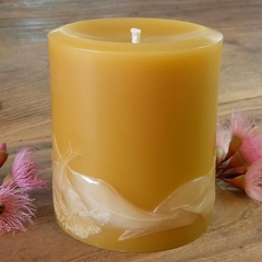 Beeswax Candle, Beeswax Pillar Candle, Gum Blossoms Design 9cmx8cm