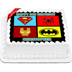 Superheroes Edible Cake Topper Icing Image