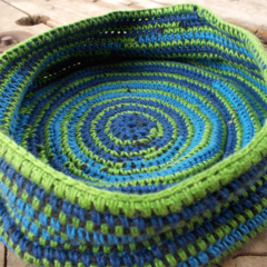 Crocheted basket made from pure wool and cotton, blue, green and black