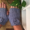Snug Beanie & Fingerless gloves- Medium Adult -Denim