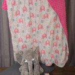 Baby blanket ~ Cotton and Minky ~ Elephant Pink