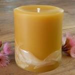 Beeswax Candle, Beeswax Pillar Candle, Gum Blossoms Design 9cmx8cm