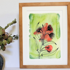 Gum Blossoms Fine Art Print - A4 - Australian Native - Unframed