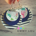Stripes, Navy & Floral Triple Layer Round Faux Leather Earrings