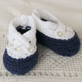 Navy and white cotton baby shoes/bootees