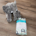 Baby blanket ~ Cotton and Minky ~ Elephant Aqua