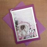 'Happy Birthday' Beautiful Victorian Lady Purple Card