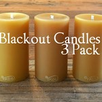 Blackout Candles 3Pack, Pure Beeswax Pillar Candles, 8.5cm x 5cm