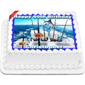Fishing Edible Icing Image Cake Topper