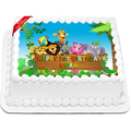 Jungle Animals Edible Icing Image Cake Topper