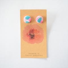 Pink & aqua polymer clay stud earrings