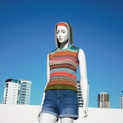 Fashion knitwear, Vest Hoodie, original handcrafted, colourful fair isle design