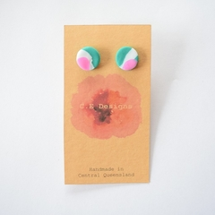 Green & pink patch polymer clay stud earrings