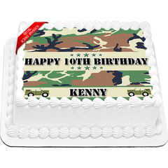 Army Camo Edible Icing Image Cake Topper