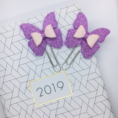 2 Purple Glitter Paper Clip Butterfly Bows