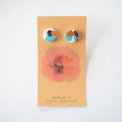 Navy/teal/white/bronze polymer clay stud earrings