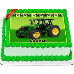 John Deere Tractor Edible Icing Image Cake Topper