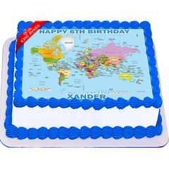 World Map Edible Icing Image Cake Topper