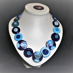 Button necklace -  Two Blues