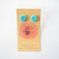 Teal polymer clay stud earrings
