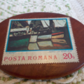 Brooch handcrafted from reclaimed hardwood and vintage stamp