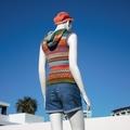 Fashion knitwear, Vest Hoodie, original handcrafted, colourful fair isle design