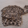 SIZE 3-4 - Hand knitted childs jumper in brown/cream