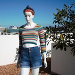 Merino wool, crop jumper, rainbow stripes
