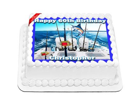 Fishing Edible Icing Image Cake Topper