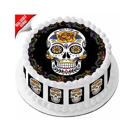 Sugar Skull Edible Cake Topper