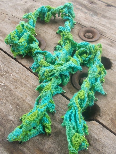Beaded necklette. Original design made from hand dyed silk with glass beads.