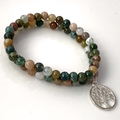Set of 2:  Natural INDIAN AGATE Beads Tree of Life Strech Bracelets.