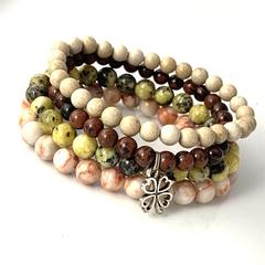 Set of 4:  Natural JASPER Gems Beads 4 colors Strech Bracelets, 4 Leaf Clover.